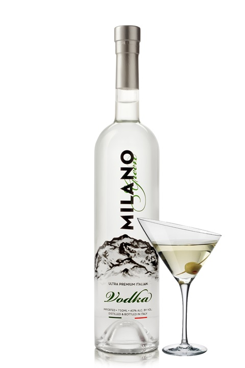 Milano bottle w martini glass